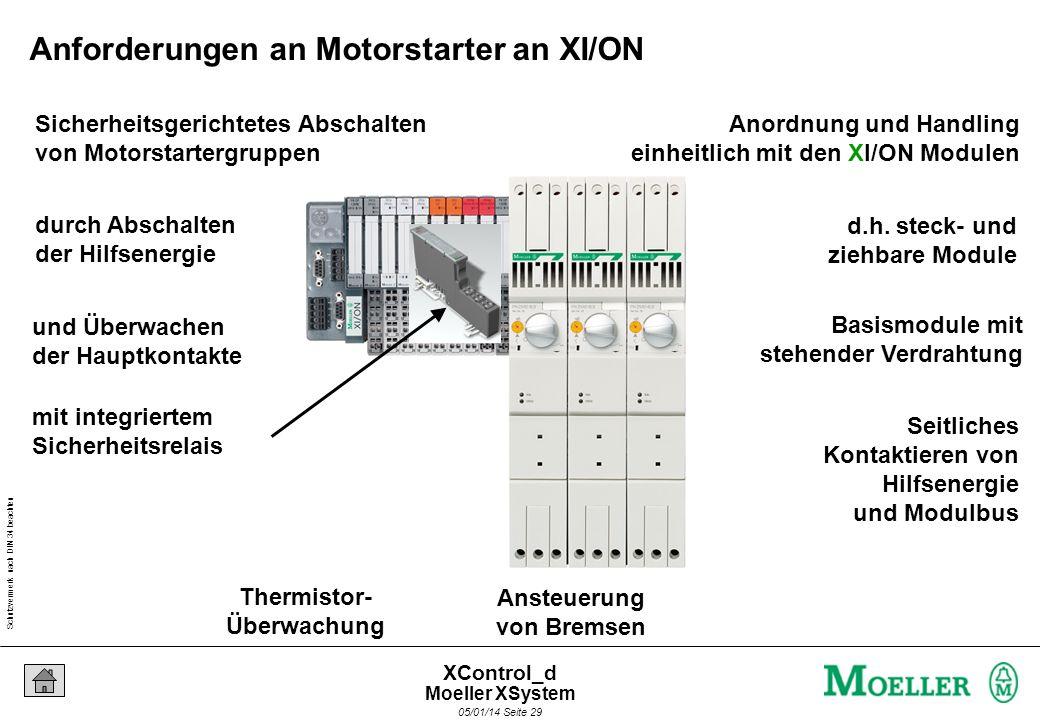 Schutzvermerk nach DIN 34 beachten 05/01/14 Seite 28 XControl_d Bausteine Kompaktstarter Kompaktstarter, einzeln vernetzt Fläche und Verdrahtung spare
