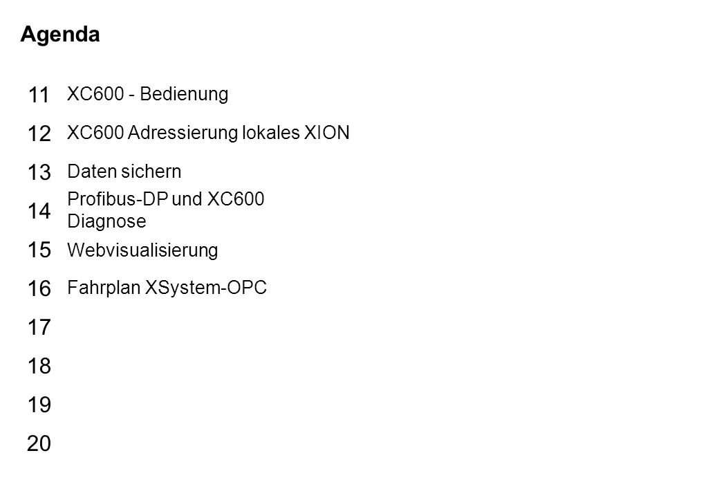Schutzvermerk nach DIN 34 beachten 05/01/14 Seite 3 XControl_d Agenda 15 16 17 18 19 20 11 12 13 14 XC600 - Bedienung XC600 Adressierung lokales XION Daten sichern Profibus-DP und XC600 Diagnose Webvisualisierung Fahrplan XSystem-OPC
