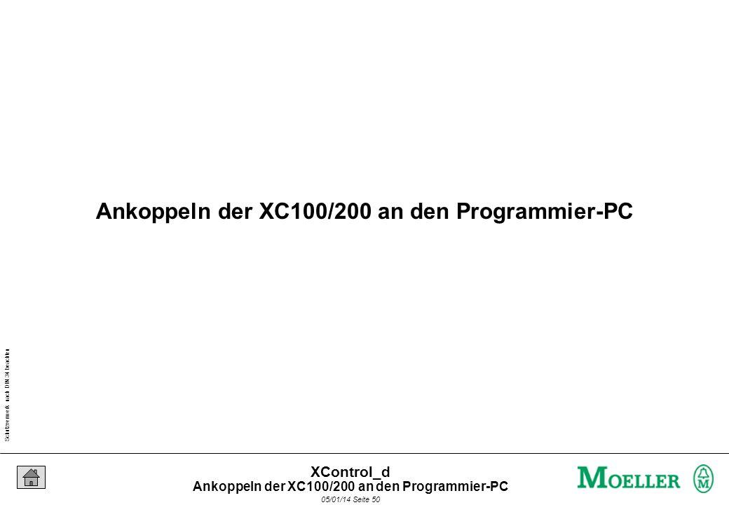 Schutzvermerk nach DIN 34 beachten 05/01/14 Seite 49 XControl_d Aufgabe: Ändern Sie die Baudrate auf 57600 Bit/s 38400 Bit/s 57600 Bit/s Änderung der