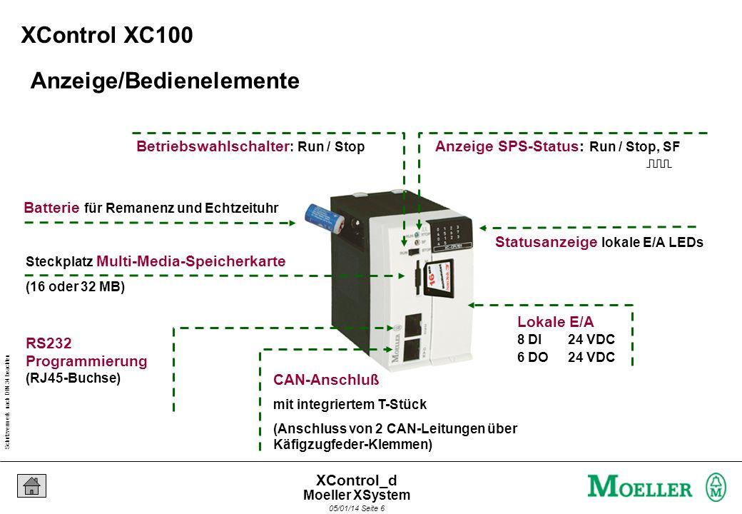 Schutzvermerk nach DIN 34 beachten 05/01/14 Seite 6 XControl_d Anzeige/Bedienelemente Anzeige SPS-Status: Run / Stop, SF Betriebswahlschalter : Run / Stop Statusanzeige lokale E/A LEDs Lokale E/A 8 DI24 VDC 6 DO 24 VDC Batterie für Remanenz und Echtzeituhr CAN-Anschluß mit integriertem T-Stück (Anschluss von 2 CAN-Leitungen über Käfigzugfeder-Klemmen) Steckplatz Multi-Media-Speicherkarte RS232 Programmierung (RJ45-Buchse) (16 oder 32 MB) XControl XC100 Moeller XSystem