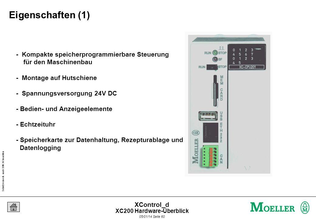 Schutzvermerk nach DIN 34 beachten 05/01/14 Seite 59 XControl_d Datenlogger für QS oder Produktionsdaten auf MC, Zugriff direkt über Ethernet Schnelle