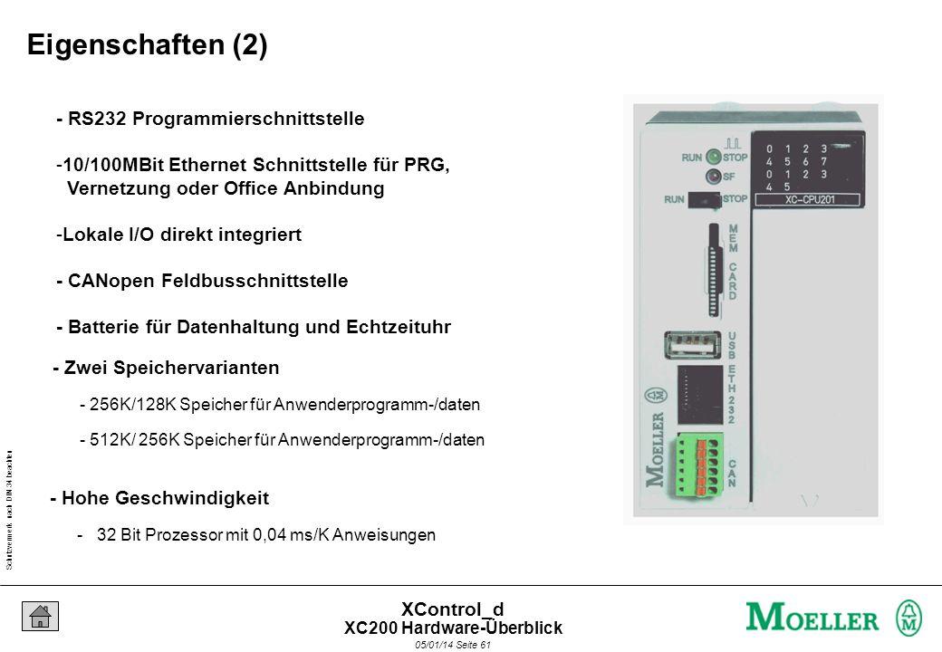 Schutzvermerk nach DIN 34 beachten 05/01/14 Seite 60 XControl_d - Kompakte speicherprogrammierbare Steuerung für den Maschinenbau - Montage auf Hutsch