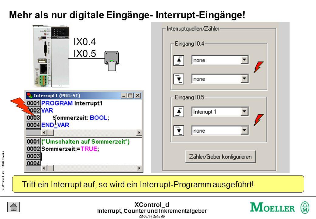 Schutzvermerk nach DIN 34 beachten 05/01/14 Seite 68 XControl_d Interrupt, Counter und Inkrementalgeber