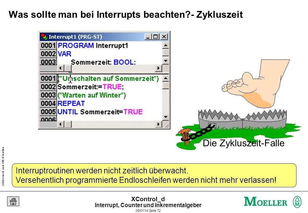 Schutzvermerk nach DIN 34 beachten 05/01/14 Seite 71 XControl_d Was passiert wenn der Interrupt kommt? Taskkonfiguration IX0.5 1 Interrupt tritt auf!