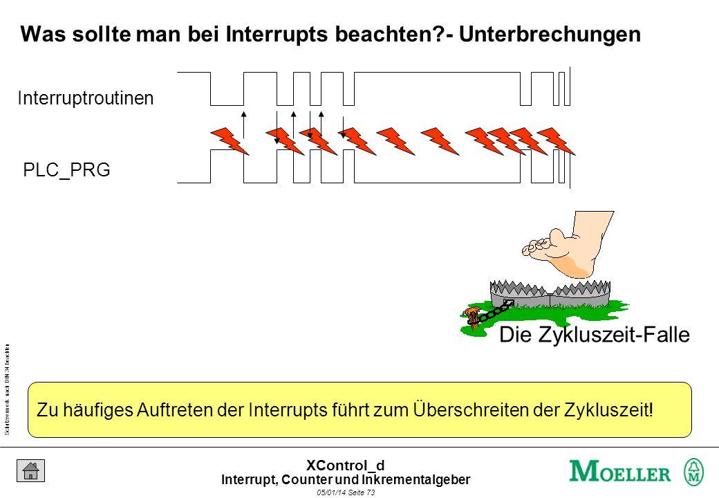 Schutzvermerk nach DIN 34 beachten 05/01/14 Seite 72 XControl_d Was sollte man bei Interrupts beachten?- Zykluszeit Interruptroutinen werden nicht zei