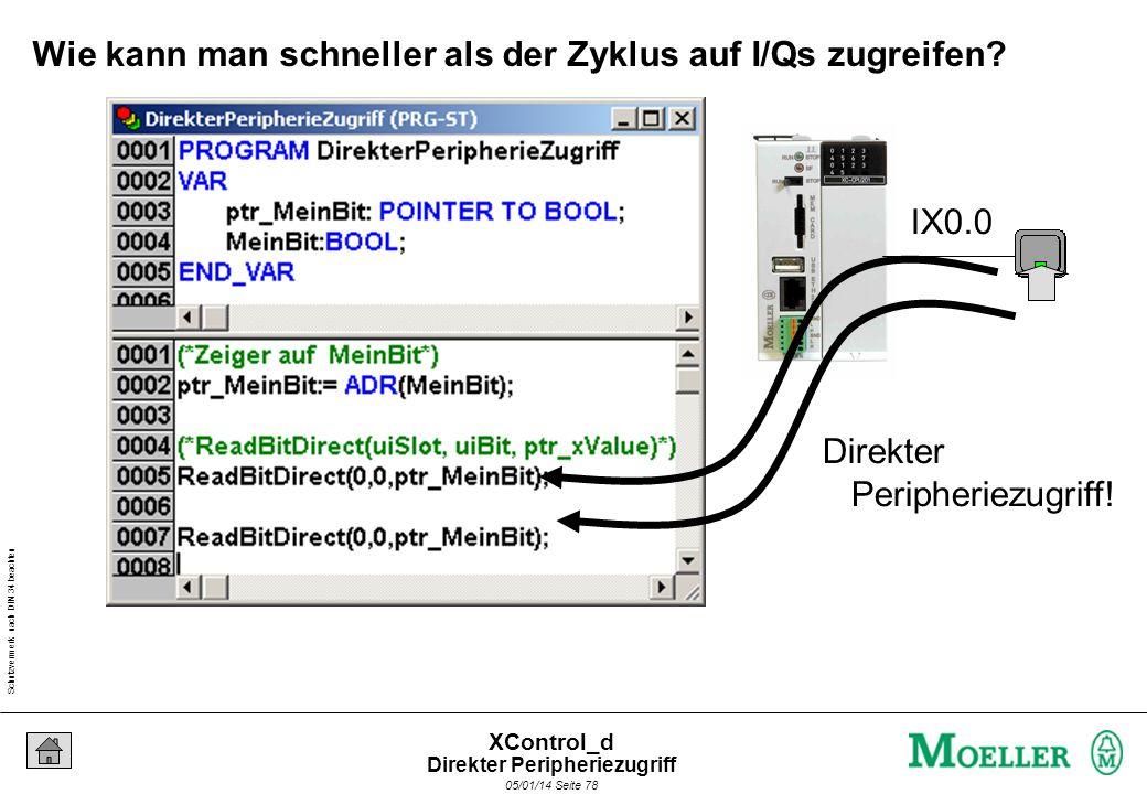Schutzvermerk nach DIN 34 beachten 05/01/14 Seite 77 XControl_d Wie kann man schneller als der Zyklus auf I/Qs zugreifen? (*Programmstart*) LD Input S