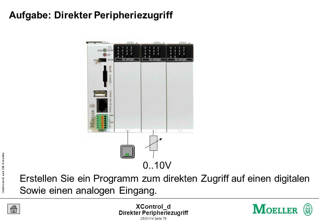 Schutzvermerk nach DIN 34 beachten 05/01/14 Seite 78 XControl_d Wie kann man schneller als der Zyklus auf I/Qs zugreifen? IX0.0 Direkter Peripheriezug