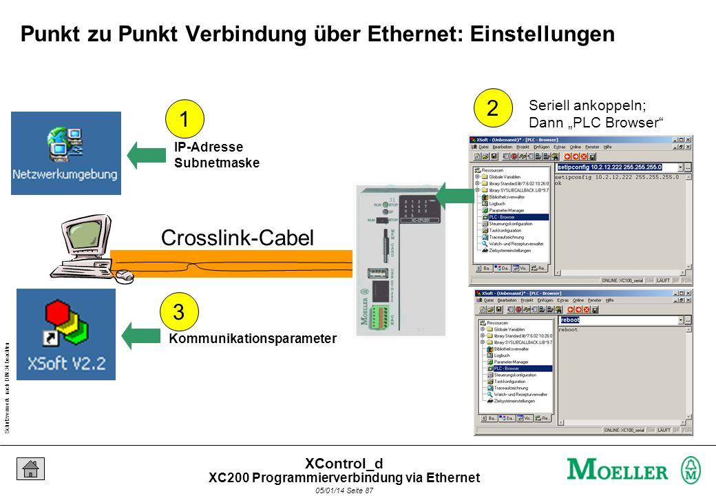 Schutzvermerk nach DIN 34 beachten 05/01/14 Seite 86 XControl_d Punkt zu Punkt Verbindung über Ethernet Crosslink-Cabel 10.2.12.22110.2.12.222 = 0-255