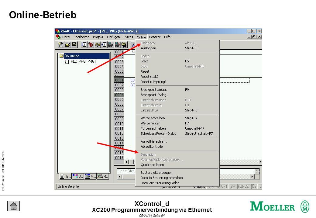 Schutzvermerk nach DIN 34 beachten 05/01/14 Seite 93 XControl_d Punkt zu Punkt Verbindung über Ethernet : Einstellungen Crosslink-Cable IP-Adresse Sub