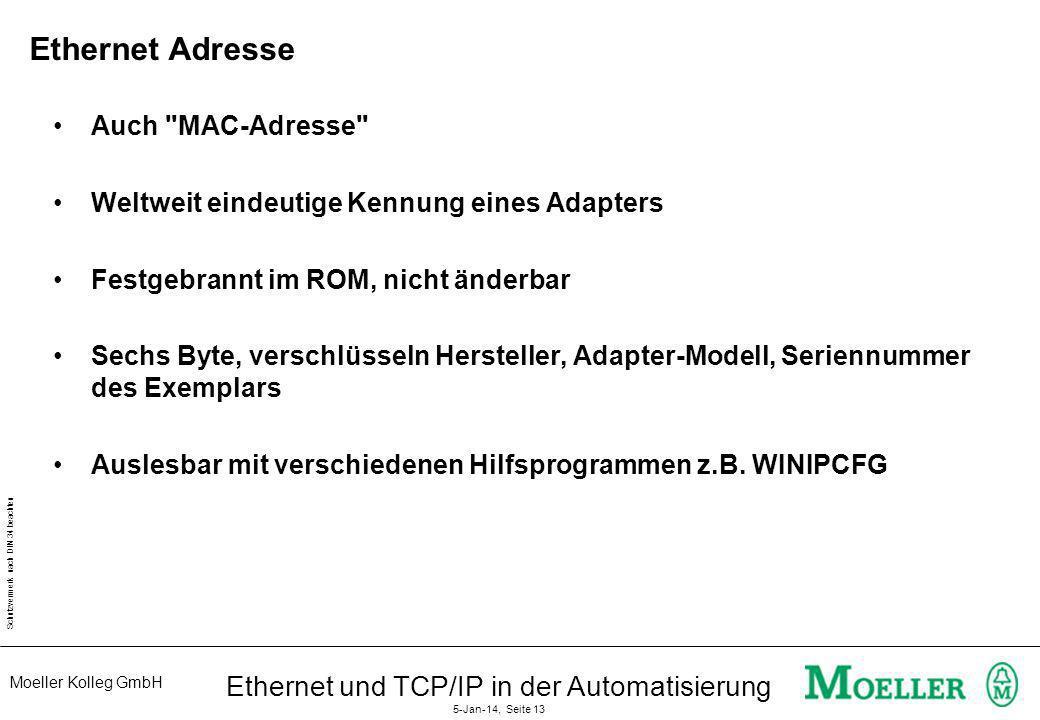 Moeller Kolleg GmbH Schutzvermerk nach DIN 34 beachten Ethernet und TCP/IP in der Automatisierung 5-Jan-14, Seite 13 Ethernet Adresse Auch
