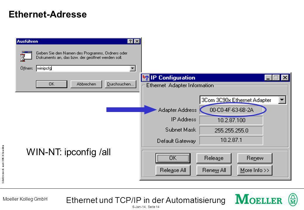 Moeller Kolleg GmbH Schutzvermerk nach DIN 34 beachten Ethernet und TCP/IP in der Automatisierung 5-Jan-14, Seite 14 Ethernet-Adresse WIN-NT: ipconfig