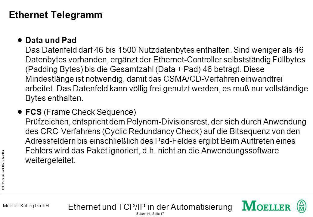 Moeller Kolleg GmbH Schutzvermerk nach DIN 34 beachten Ethernet und TCP/IP in der Automatisierung 5-Jan-14, Seite 17 Ethernet Telegramm Data und Pad D