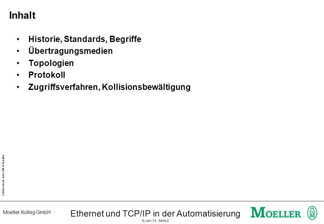 Moeller Kolleg GmbH Schutzvermerk nach DIN 34 beachten Ethernet und TCP/IP in der Automatisierung 5-Jan-14, Seite 2 Inhalt Historie, Standards, Begrif