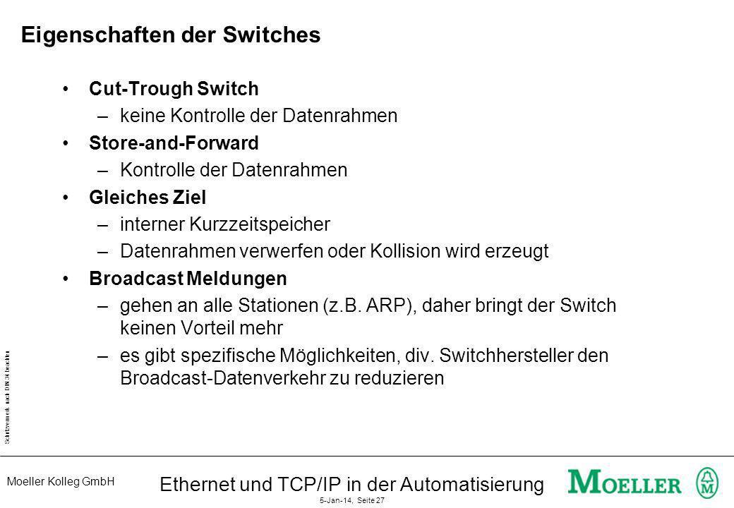 Moeller Kolleg GmbH Schutzvermerk nach DIN 34 beachten Ethernet und TCP/IP in der Automatisierung 5-Jan-14, Seite 27 Eigenschaften der Switches Cut-Tr