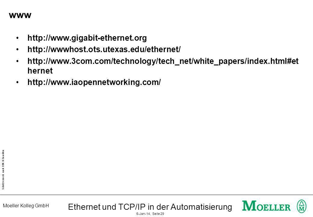 Moeller Kolleg GmbH Schutzvermerk nach DIN 34 beachten Ethernet und TCP/IP in der Automatisierung 5-Jan-14, Seite 29 www http://www.gigabit-ethernet.o