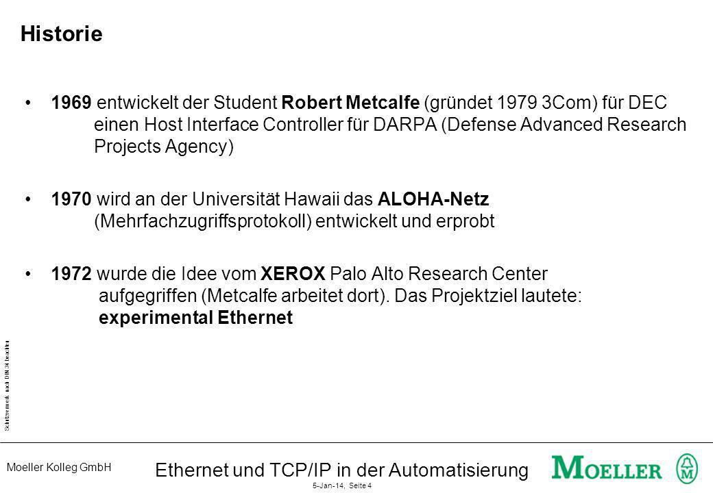 Moeller Kolleg GmbH Schutzvermerk nach DIN 34 beachten Ethernet und TCP/IP in der Automatisierung 5-Jan-14, Seite 4 Historie 1969 entwickelt der Stude