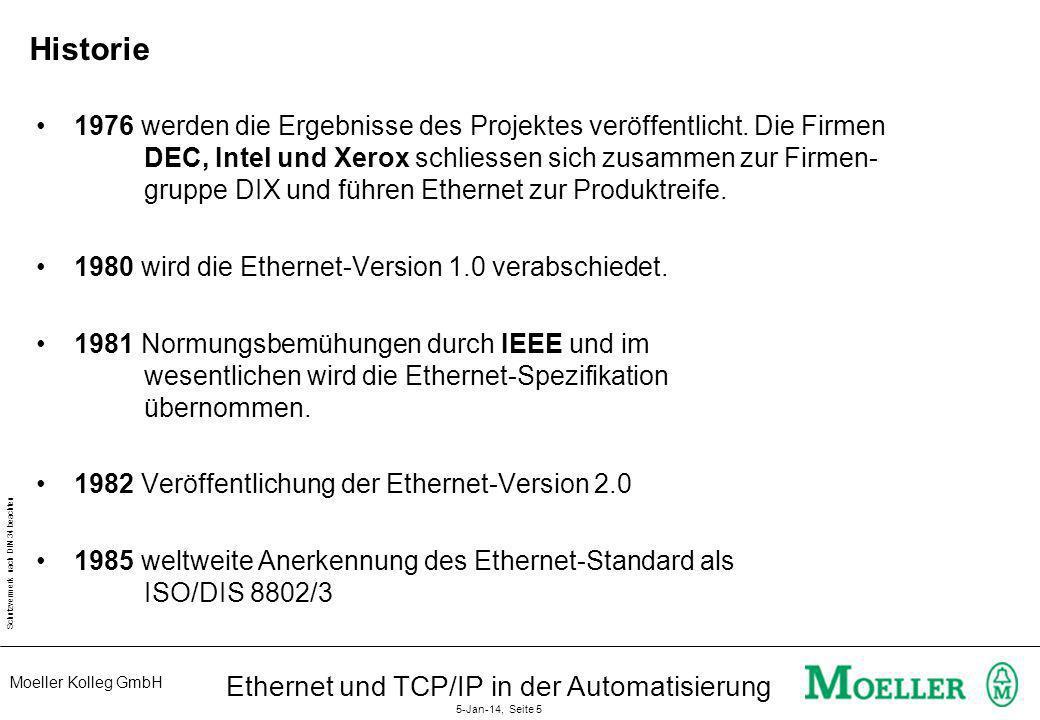 Moeller Kolleg GmbH Schutzvermerk nach DIN 34 beachten Ethernet und TCP/IP in der Automatisierung 5-Jan-14, Seite 5 Historie 1976 werden die Ergebniss