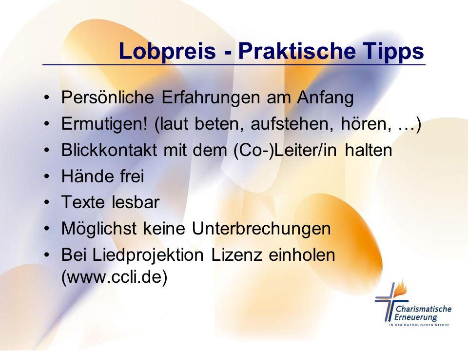Lobpreis - Praktische Tipps Persönliche Erfahrungen am Anfang Ermutigen! (laut beten, aufstehen, hören, …) Blickkontakt mit dem (Co-)Leiter/in halten
