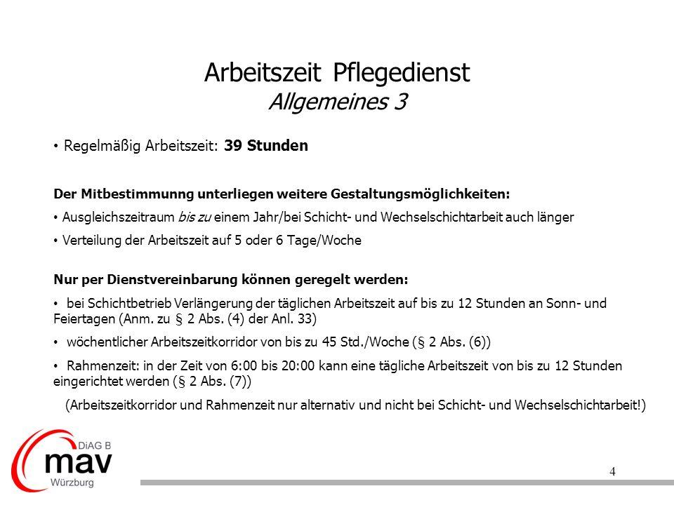 5 Arbeitszeit Pflegedienst Sonntagsarbeit § 3 Abs.