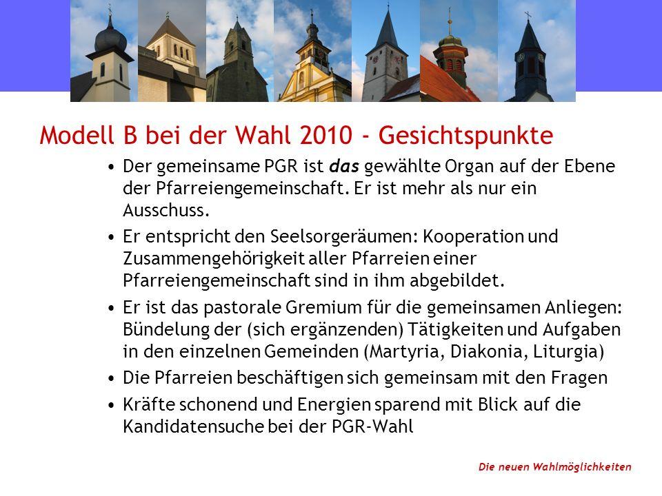 Modell B bei der Wahl 2010 - Gesichtspunkte Der gemeinsame PGR ist das gewählte Organ auf der Ebene der Pfarreiengemeinschaft.
