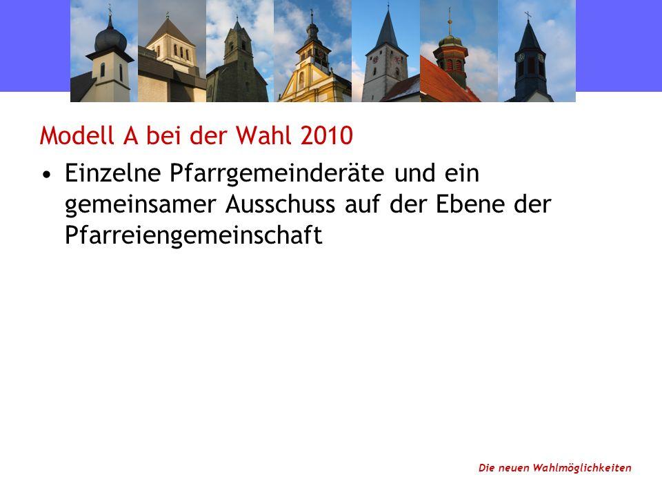 Modell A bei der Wahl 2010 Einzelne Pfarrgemeinderäte und ein gemeinsamer Ausschuss auf der Ebene der Pfarreiengemeinschaft Die neuen Wahlmöglichkeiten