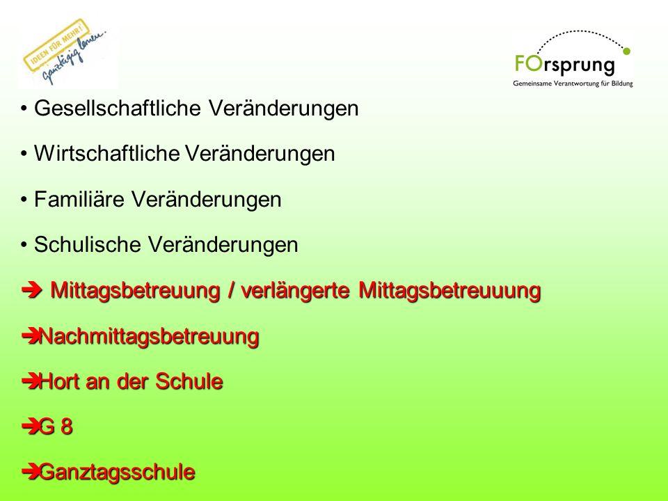 (Teil-) Gebundene Ganztagsschulen Zielsetzungen: -Veränderung des Schultages - Rhythmisierung Aber: - Nur für max.