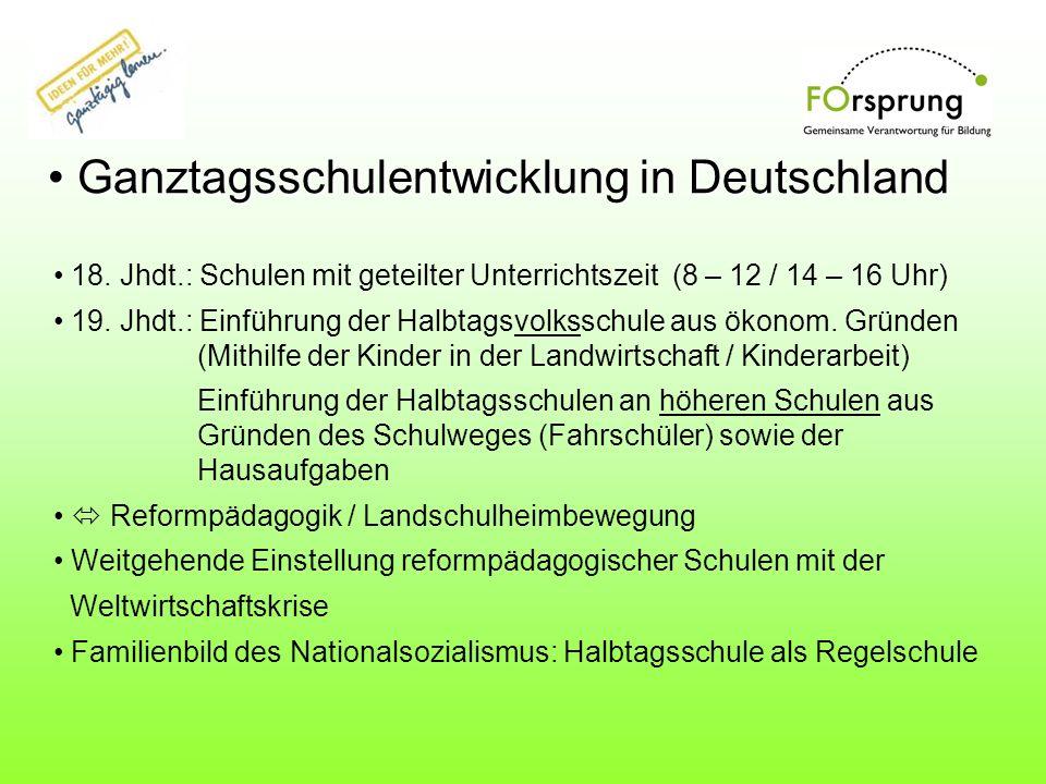 Ganztagsschulentwicklung in Deutschland Ganztagsschulentwicklung in Deutschland 18. Jhdt.: Schulen mit geteilter Unterrichtszeit (8 – 12 / 14 – 16 Uhr