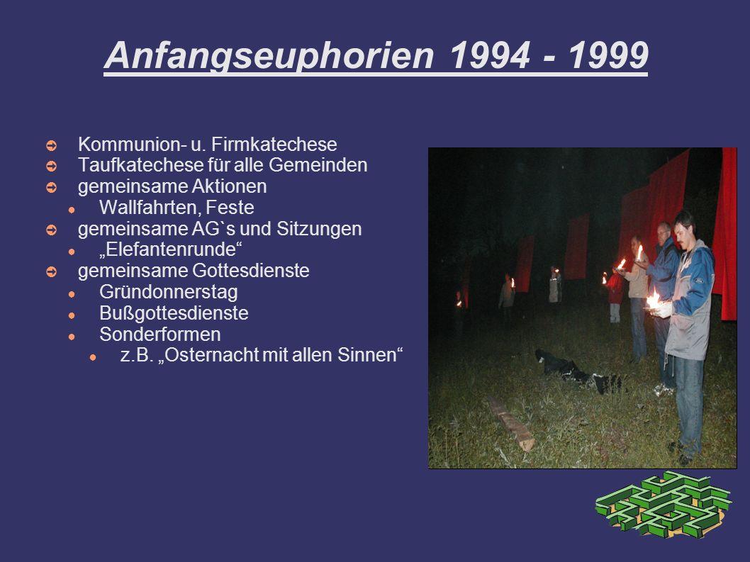 Anfangseuphorien 1994 - 1999 Kommunion- u. Firmkatechese Taufkatechese für alle Gemeinden gemeinsame Aktionen Wallfahrten, Feste gemeinsame AG`s und S