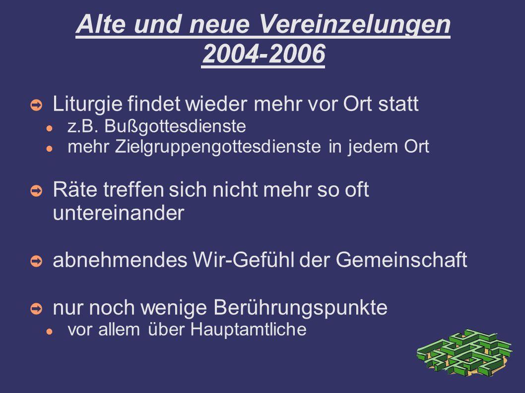 Alte und neue Vereinzelungen 2004-2006 Liturgie findet wieder mehr vor Ort statt z.B. Bußgottesdienste mehr Zielgruppengottesdienste in jedem Ort Räte