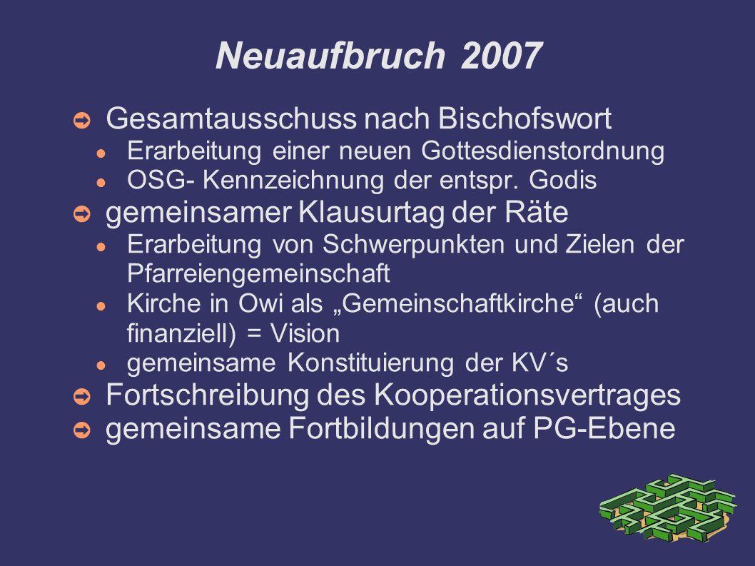 Neuaufbruch 2007 Gesamtausschuss nach Bischofswort Erarbeitung einer neuen Gottesdienstordnung OSG- Kennzeichnung der entspr. Godis gemeinsamer Klausu