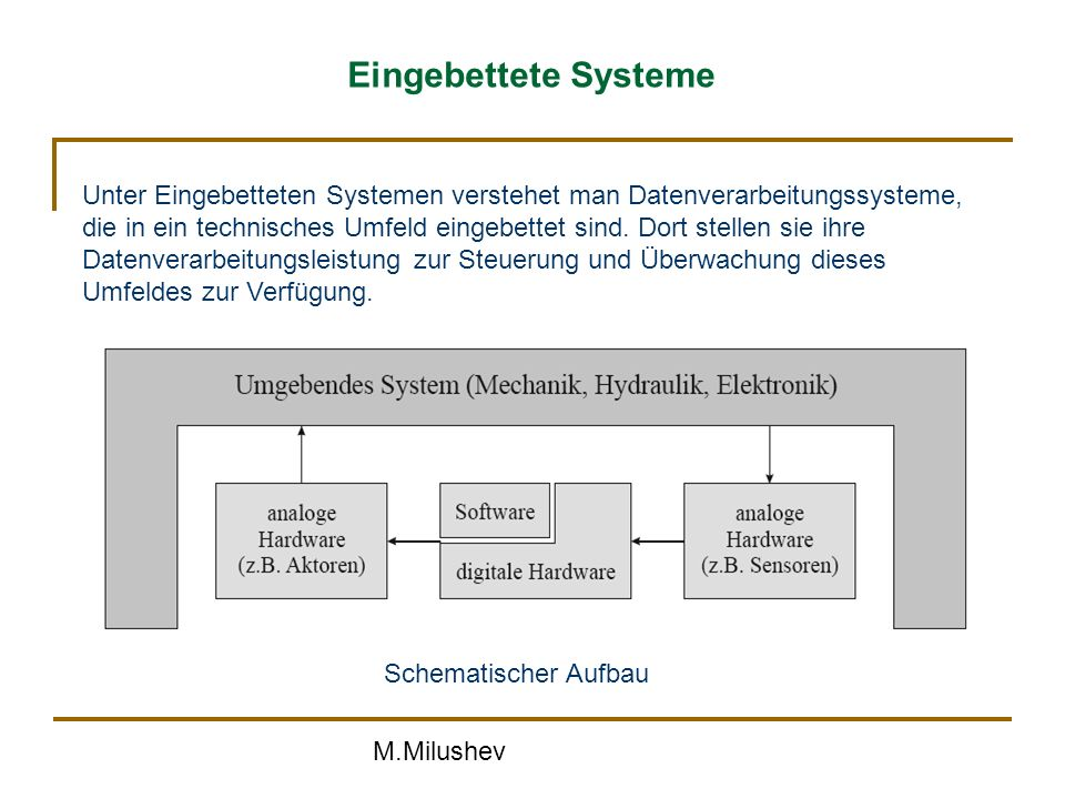M.Milushev Eingebettete Systeme Schematischer Aufbau Unter Eingebetteten Systemen verstehet man Datenverarbeitungssysteme, die in ein technisches Umfeld eingebettet sind.
