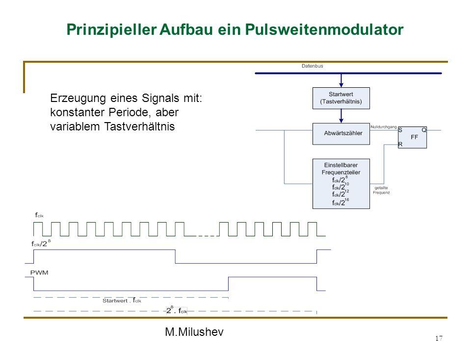 M.Milushev 17 Prinzipieller Aufbau ein Pulsweitenmodulator Erzeugung eines Signals mit: konstanter Periode, aber variablem Tastverhältnis