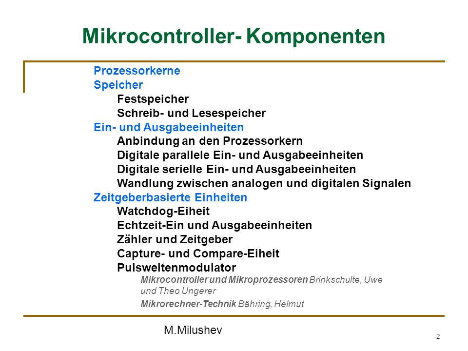 M.Milushev 2 Mikrocontroller- Komponenten Prozessorkerne Speicher Festspeicher Schreib- und Lesespeicher Ein- und Ausgabeeinheiten Anbindung an den Pr
