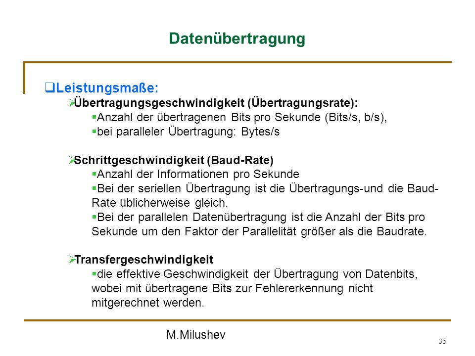 M.Milushev 35 Datenübertragung Leistungsmaße: Übertragungsgeschwindigkeit (Übertragungsrate): Anzahl der übertragenen Bits pro Sekunde (Bits/s, b/s),