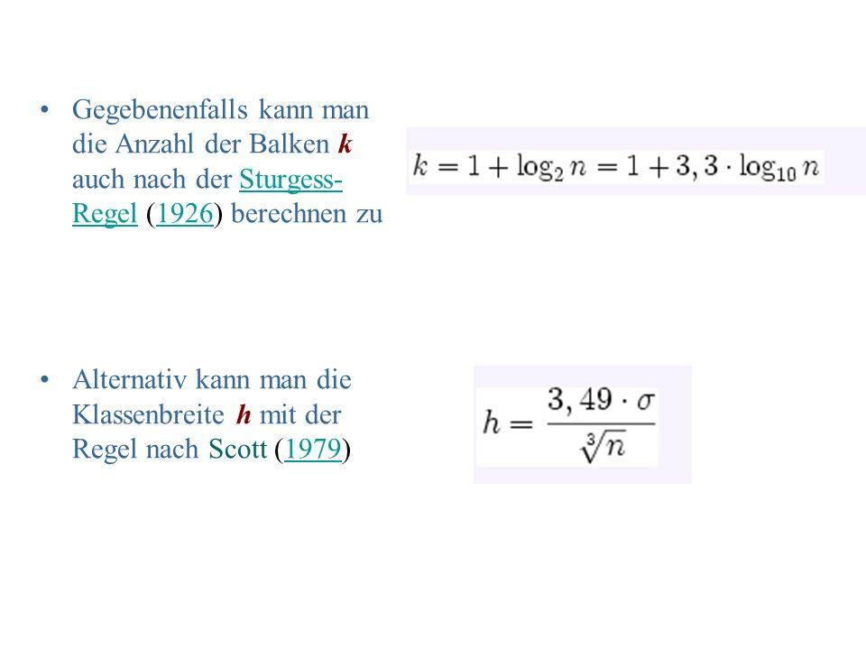 Gegebenenfalls kann man die Anzahl der Balken k auch nach der Sturgess- Regel (1926) berechnen zuSturgess- Regel1926 Alternativ kann man die Klassenbr