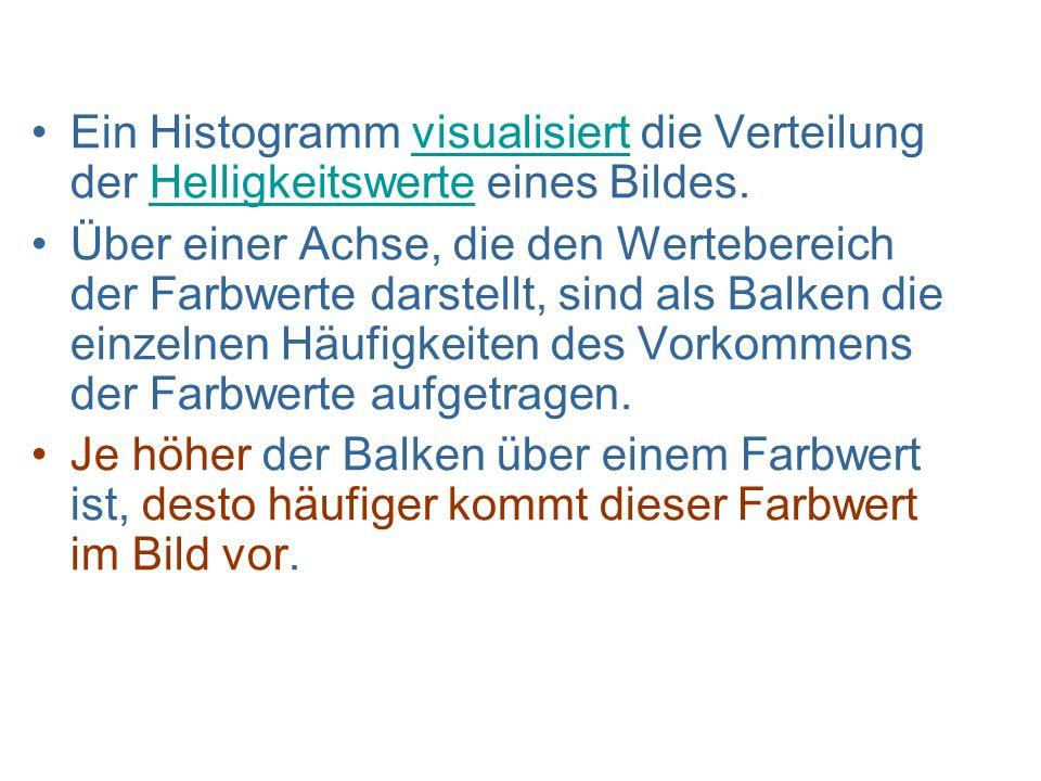 Ein Histogramm visualisiert die Verteilung der Helligkeitswerte eines Bildes.visualisiertHelligkeitswerte Über einer Achse, die den Wertebereich der F
