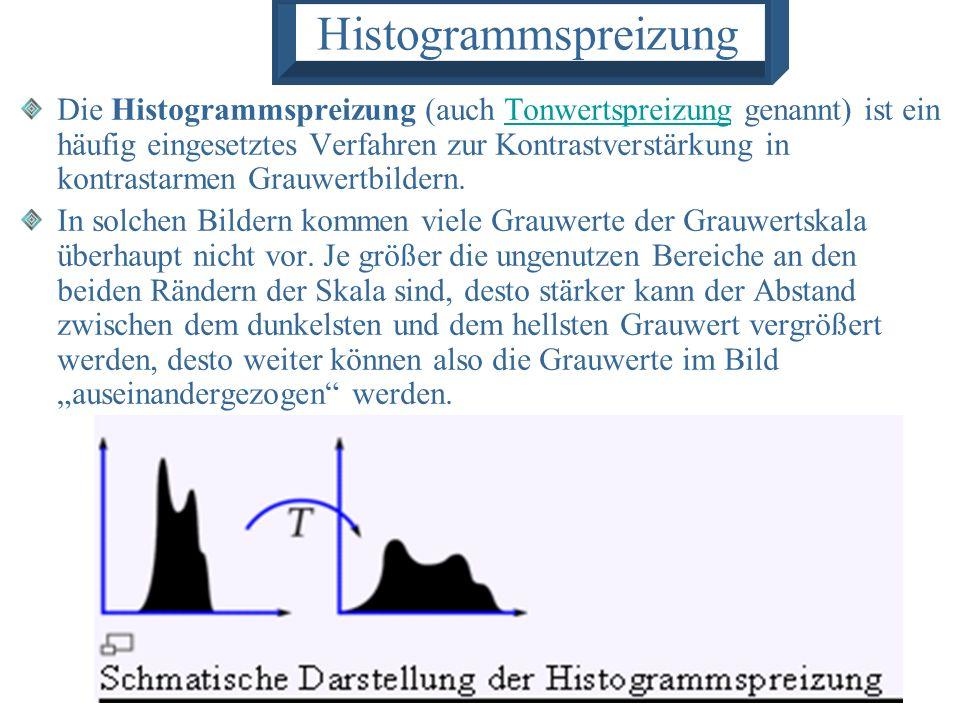 Histogrammspreizung Die Histogrammspreizung (auch Tonwertspreizung genannt) ist ein häufig eingesetztes Verfahren zur Kontrastverstärkung in kontrasta