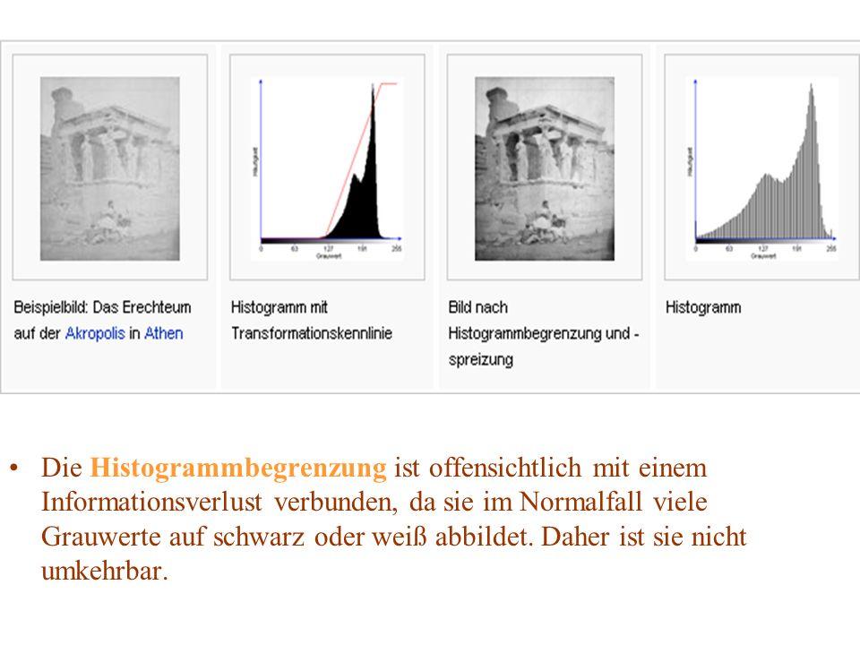 Die Histogrammbegrenzung ist offensichtlich mit einem Informationsverlust verbunden, da sie im Normalfall viele Grauwerte auf schwarz oder weiß abbild