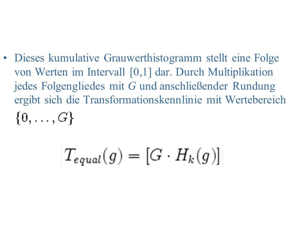 Dieses kumulative Grauwerthistogramm stellt eine Folge von Werten im Intervall [0,1] dar. Durch Multiplikation jedes Folgengliedes mit G und anschließ