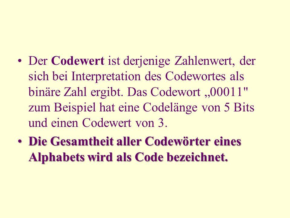 Der Codewert ist derjenige Zahlenwert, der sich bei Interpretation des Codewortes als binäre Zahl ergibt. Das Codewort 00011
