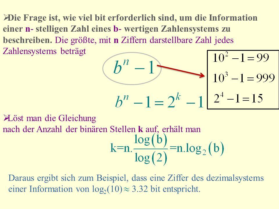 Die Frage ist, wie viel bit erforderlich sind, um die Information einer n- stelligen Zahl eines b- wertigen Zahlensystems zu beschreiben. Die größte,