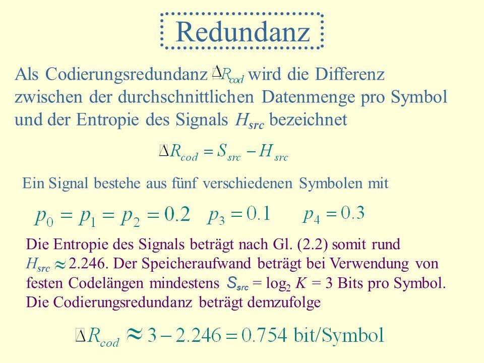 Redundanz Als Codierungsredundanz wird die Differenz zwischen der durchschnittlichen Datenmenge pro Symbol und der Entropie des Signals H src bezeichn