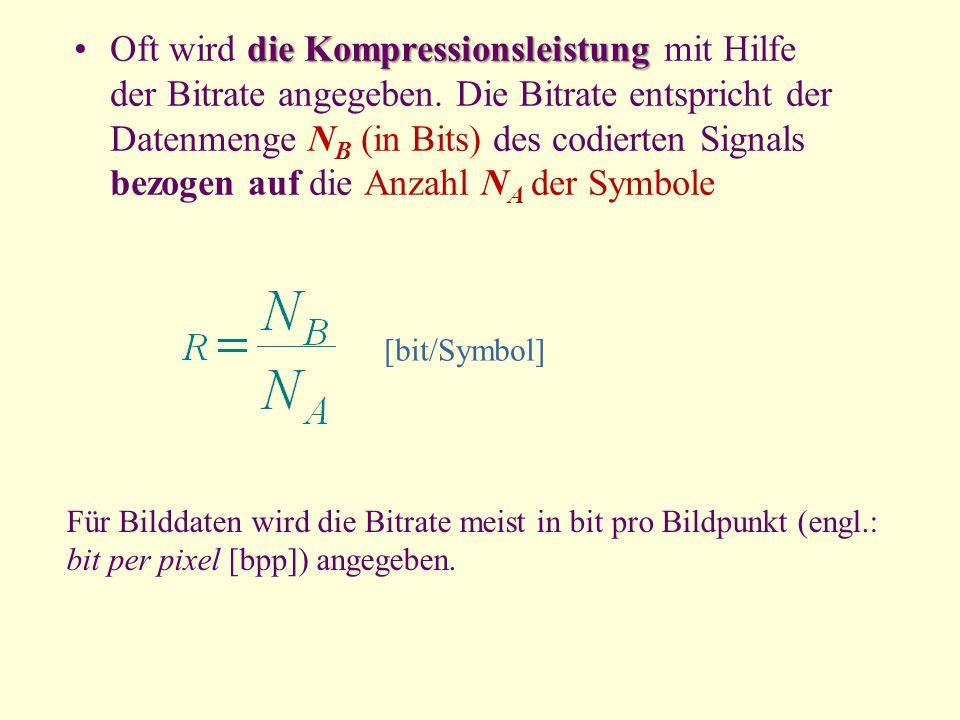 die KompressionsleistungOft wird die Kompressionsleistung mit Hilfe der Bitrate angegeben. Die Bitrate entspricht der Datenmenge N B (in Bits) des cod