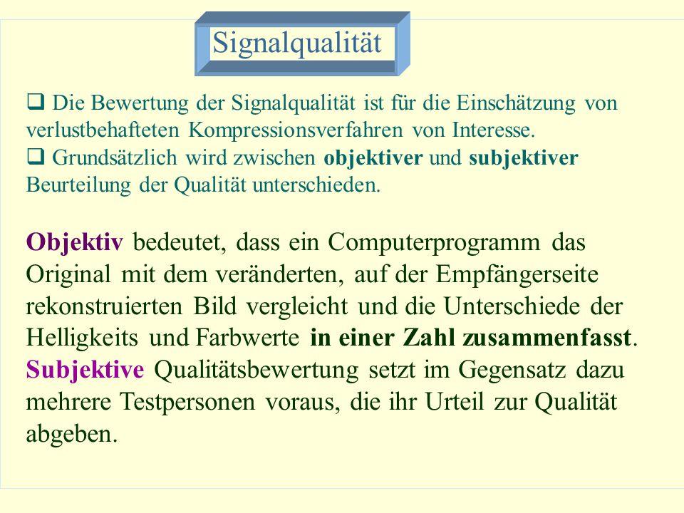 Signalqualität Die Bewertung der Signalqualität ist für die Einschätzung von verlustbehafteten Kompressionsverfahren von Interesse. Grundsätzlich wird