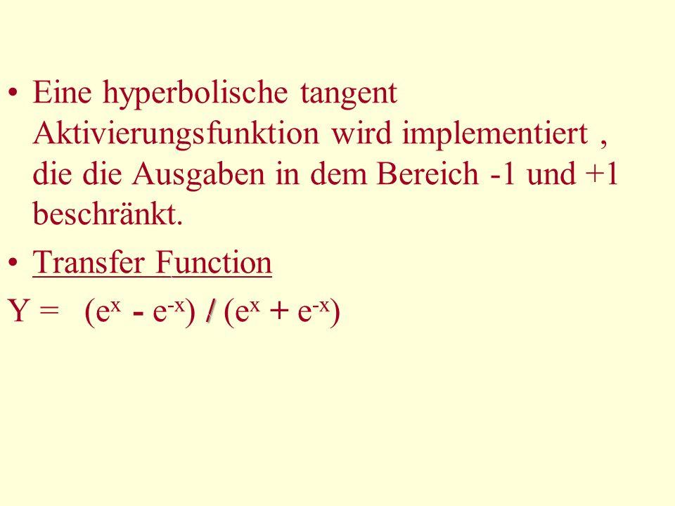 Eine hyperbolische tangent Aktivierungsfunktion wird implementiert, die die Ausgaben in dem Bereich -1 und +1 beschränkt. Transfer Function / Y = (e x