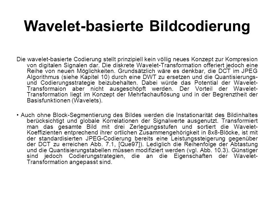 Wavelet-basierte Bildcodierung Die wavelet-basierte Codierung stellt prinzipiell kein völlig neues Konzept zur Kompresion von digitalen Signalen dar.