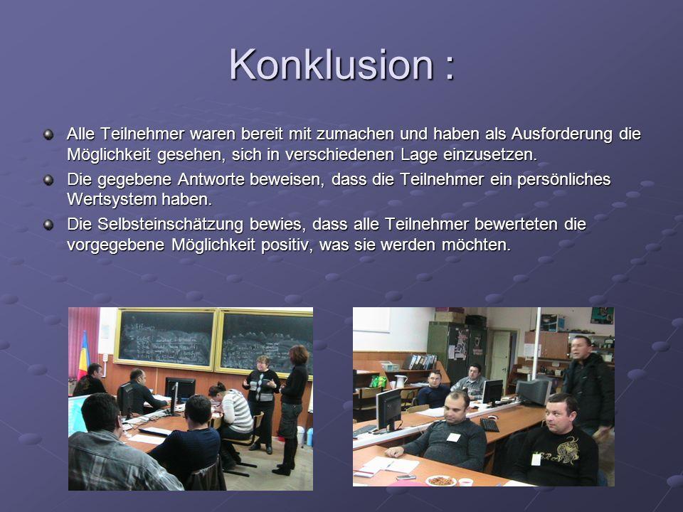 Konklusion : Alle Teilnehmer waren bereit mit zumachen und haben als Ausforderung die Möglichkeit gesehen, sich in verschiedenen Lage einzusetzen. Die