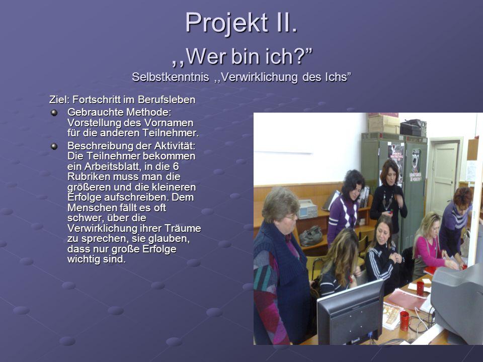Projekt II.,, Wer bin ich? Selbstkenntnis,,Verwirklichung des Ichs Ziel: Fortschritt im Berufsleben Gebrauchte Methode: Vorstellung des Vornamen für d