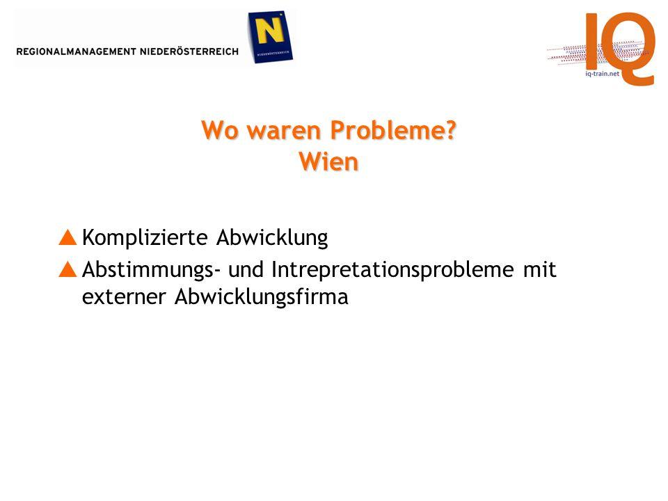 Wo waren Probleme.