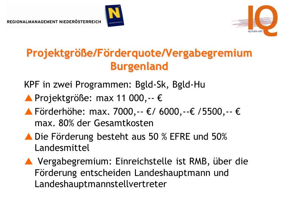 KPF in zwei Programmen: Bgld-Sk, Bgld-Hu Projektgröße: max 11 000,-- Förderhöhe: max.